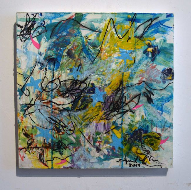 Sean Semones Painting - 041, acrylic on canvas, blue tones, hand writing, words, poetry