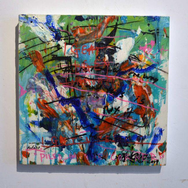 2020 Fall Season Sean Semones Painting - 042, green hues, letters, writing, words