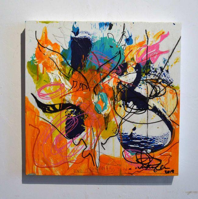 2020 Fall Season Sean Semones Painting - 043, orange hues, writing, words
