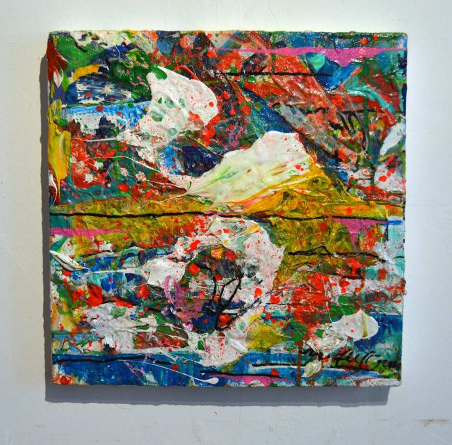 2020 Sean Semones painting - 044, multi colored with horizontal line across middle