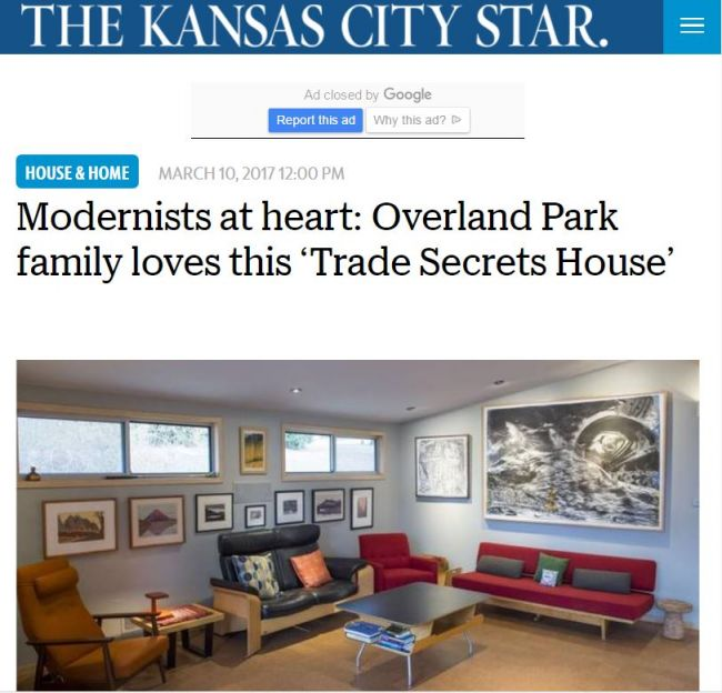 Kansas City Star - MidCentury Modern Showcase Home